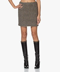 ANINE BING Marie Houndstooth Skirt - Black/Beige