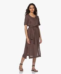 LaSalle Belted Linen Midi Dress - Choco