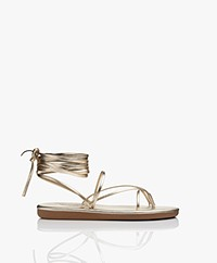 Ancient Greek Sandals String Flip Flop Leather Sandals - Platinum