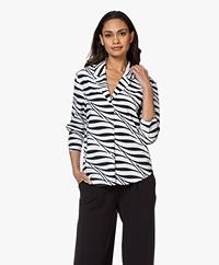 JapanTKY Nyla Travel Jersey Zebra Print Blouse - Black/White