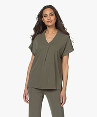 Kyra & Ko Selma Crepe Jersey T-shirt - Green Moss