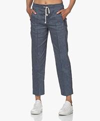 Drykorn Access Linen Blend Striped Pants - Blue