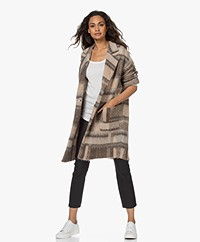 LaSalle Checkered Mohair Blend Coat - Brown/Taupe/Cream