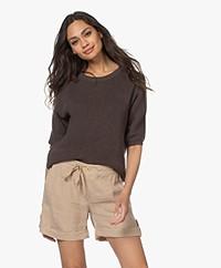 Belluna Chili Cotton Short Sleeve Sweater - Brown