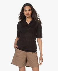 Filippa K Angeline Knitted Linen Polo T-shirt - Black