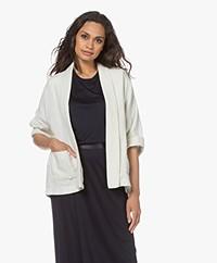 indi & cold Oversized Linen Kimono Jacket - Ecru