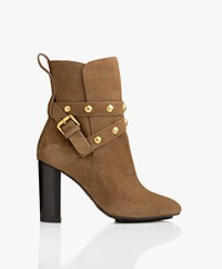 See by Chloé Janis Heeled Ankle Boots with Studs - Khaki Brown