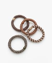Bon Dep Kknekki Hair Ties - Brown/Beige/Green