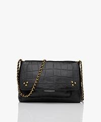 Jerome Dreyfuss Lulu M Leather Shoulder/Cross-body Bag - Croco Black/Vintage Gold