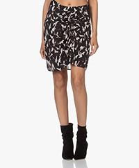 IRO Ciara Silk Blend Printed Skirt - Black/Ecru