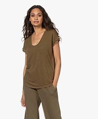 FRAME Easy Linen Scoop Neck T-shirt - Moss