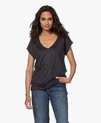 by-bar Mila Linen V-neck T-shirt - Midnight