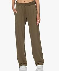 FRAME Wide Leg Pima Cotton Sweatpants - Washed Moss