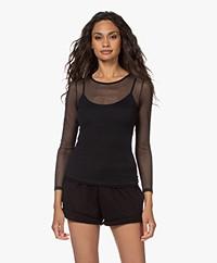 HANRO Smooth Illusion Tule Long Sleeve T-shirt - Black