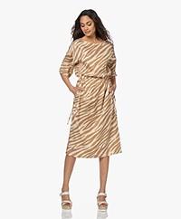 Drykorn Tamasha Cupro Blend Tiger Print Dress - Tapioca