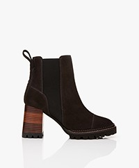 See by Chloé Suede Chelsea Boots with Heel - Graphite