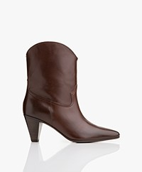 Closed Licorice Pointy Leather Ankle Boots - Maroon Brown