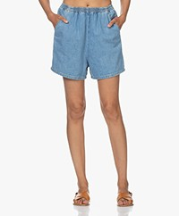 American Vintage Gowbay Cotton Denim Shorts - Medium Blue