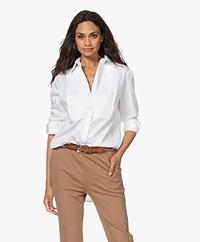 LaSalle Long Cotton Poplin Shirt - White
