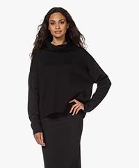 Sibin/Linnebjerg Brazil Merino Wool Blend Turtleneck Sweater - Black