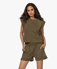 FRAME Rolled Up Cropped Sleeveless Sweatshirt - Washed Moss