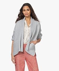 Repeat Open Katoenen Sjaalkraag Vest - Soft Grey