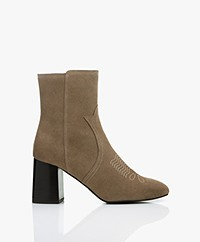 See by Chloé Abby Embroidered Ankle Boots - Taupe