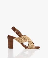 Vanessa Bruno Leather Raffia Sandals with Heel - Naturel