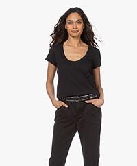 Rag & Bone The Slub Cotton U-neck T-shirt - Black