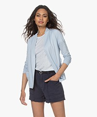 Majestic Filatures Jersey Linen Blend Cardigan with Tie-belt - Angel Blue