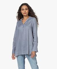 Repeat Linen Split Neck Blouse - Dusty Blue