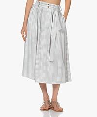 Closed Gertie Linen Blend Striped Midi Skirt - Black