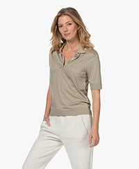 Repeat Fine Knit Lyocell Blend Polo - Pepper