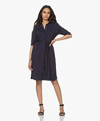 Belluna Genny Stretch Cotton Shirt Dress - Navy