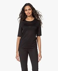 Filippa K Elena Tencel Halflange Mouwen T-shirt - Zwart