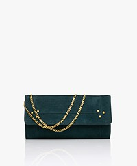 Jerome Dreyfuss Pif Wallet On A Chain Bag - Petrol Green/Vintage Gold