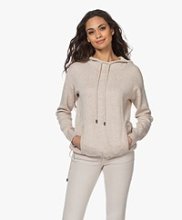 Repeat Knitted Cotton Blend Hooded Sweater - Beige