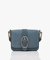 Vanessa Bruno Iris Suede Shoulder Bag - Greyish Blue